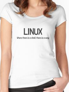 Linux, where there is a shell, there is a way Women's Fitted Scoop T-Shirt