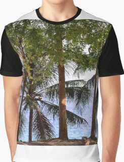 Coconut Trees Ocean Scenic View Graphic T-Shirt