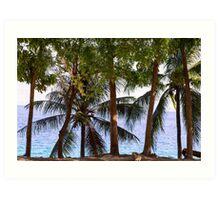 Coconut Trees Ocean Scenic View Art Print