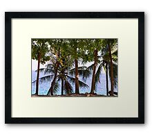 Coconut Trees Ocean Scenic View Framed Print