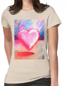Retro Heart Pastel Womens Fitted T-Shirt