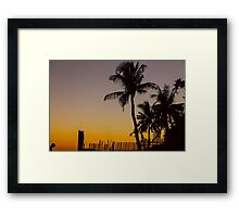 Colorful Tropical Paradise Sunset Silhouettes Framed Print