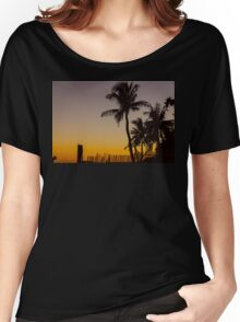 Colorful Tropical Paradise Sunset Silhouettes Women's Relaxed Fit T-Shirt