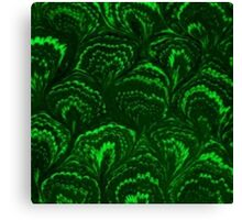 Retro Swirls Emerald Green Canvas Print