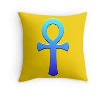 Blue Ankh Throw Pillow