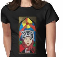 little red riding with wolf hood Womens Fitted T-Shirt