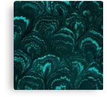 Retro Swirls Teal Turquoise Aquamarine Canvas Print