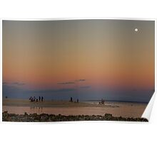 Full Moon Beach Watching At Sunset Poster