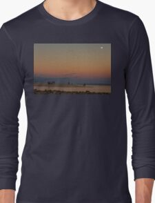 Full Moon Beach Watching At Sunset Long Sleeve T-Shirt