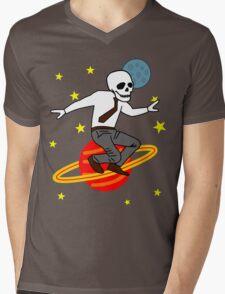 Space Office Skeleton Mens V-Neck T-Shirt
