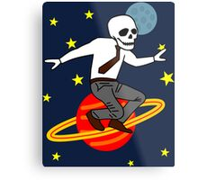 Space Office Skeleton Metal Print