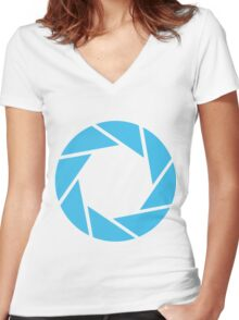 Aperture Science (Blue) Women's Fitted V-Neck T-Shirt