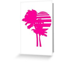 2 palm beach beautiful shape pattern design outlined umrandung sun sunset night evening sunrise morning silhouette pink miami Greeting Card