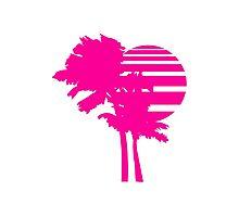 2 palm beach beautiful shape pattern design outlined umrandung sun sunset night evening sunrise morning silhouette pink miami Photographic Print