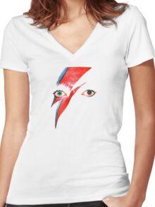 David Bowie Aladdin Sane Lightning Bolt Women's Fitted V-Neck T-Shirt