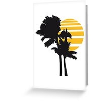 2 palm beach beautiful shape pattern design outlined umrandung sun sunset night evening sunrise morning silhouette Greeting Card
