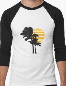 2 palm beach beautiful shape pattern design outlined umrandung sun sunset night evening sunrise morning silhouette Men's Baseball ¾ T-Shirt