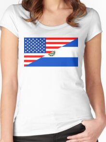 usa el salvador half flag Women's Fitted Scoop T-Shirt