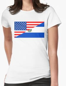usa el salvador half flag Womens Fitted T-Shirt