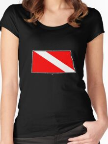Dive flag North Dakota outline Women's Fitted Scoop T-Shirt