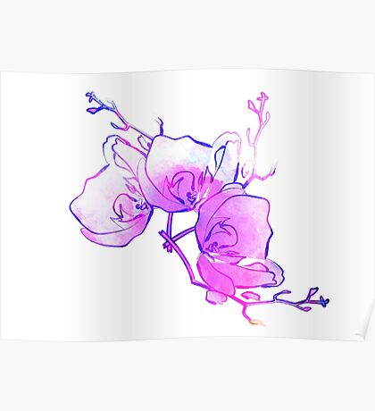 ink watercolour flower Poster
