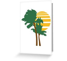 2 palm beach beautiful shape pattern design outlined umrandung sun sunset night evening sunrise morning Greeting Card