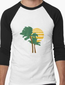 2 palm beach beautiful shape pattern design outlined umrandung sun sunset night evening sunrise morning Men's Baseball ¾ T-Shirt