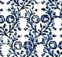 Vintage Flowers Navy Blue and White Sticker