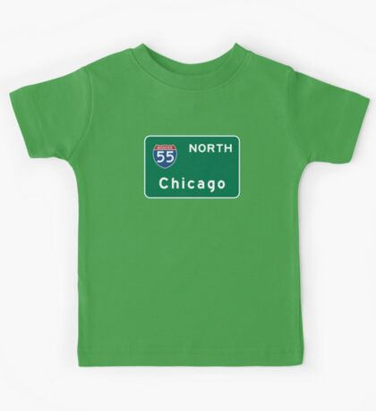 Chicago I-55, IL Road Sign, USA Kids Tee