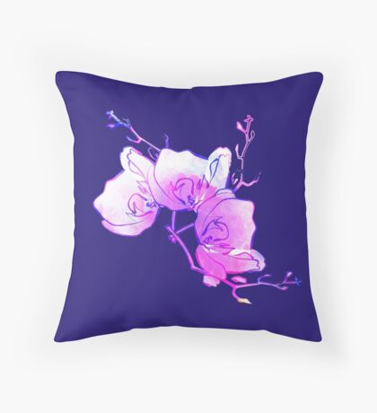 ink watercolour flower Throw Pillow