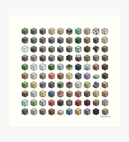 100 Minecraft Blocks Art Print
