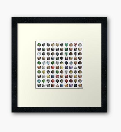100 Minecraft Blocks Framed Print