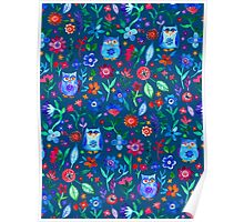 Little Owls and Flowers on deep teal blue Poster