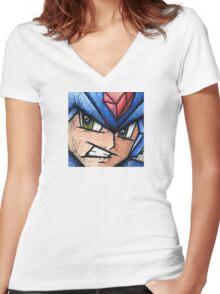 Mega Man the Blue Bomber Women's Fitted V-Neck T-Shirt