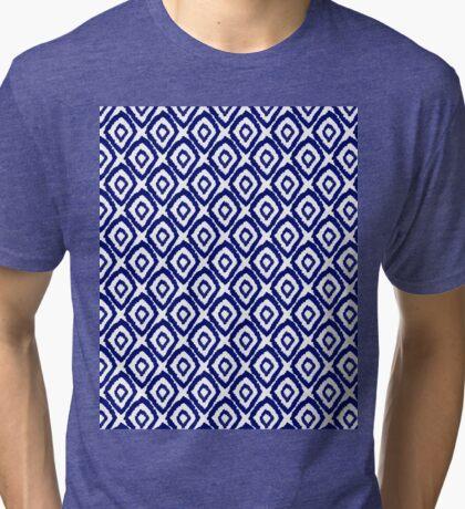 Ikat modern indigo blue abstract patiently brushstrokes painting pattern print Tri-blend T-Shirt