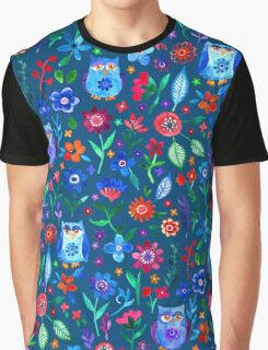 Little Owls and Flowers on deep teal blue Graphic T-Shirt