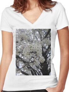 Blossoms Before A Storm Women's Fitted V-Neck T-Shirt