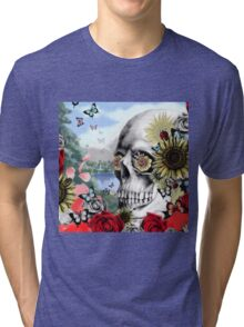 Nature skull landscape Tri-blend T-Shirt