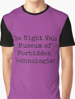 "Welcome To Night Vale ""The Night Vale Museum of Forbidden Technologies"" - Black Writing, Purple Background Graphic T-Shirt"