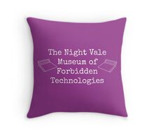 "Welcome To Night Vale ""The Night Vale Museum of Forbidden Technologies"" - White Writing, Purple Background Throw Pillow"