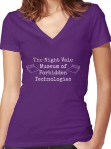 "Welcome To Night Vale ""The Night Vale Museum of Forbidden Technologies"" - White Writing, Purple Background Women's Fitted V-Neck T-Shirt"