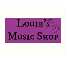 "Welcome To Night Vale ""Louie's Music Shop"" Black Writing, Purple Background Art Print"
