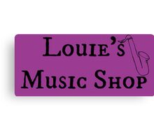 """Welcome To Night Vale """"Louie's Music Shop"""" Black Writing, Purple Background Canvas Print"""