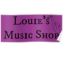 """Welcome To Night Vale """"Louie's Music Shop"""" Black Writing, Purple Background Poster"""