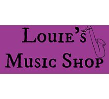 """Welcome To Night Vale """"Louie's Music Shop"""" Black Writing, Purple Background Photographic Print"""