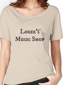 """Welcome To Night Vale """"Louie's Music Shop"""" Black Writing, Purple Background Women's Relaxed Fit T-Shirt"""