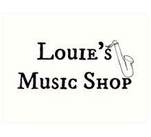 "Welcome To Night Vale ""Louie's Music Shop"" Black Writing, White Background Art Print"
