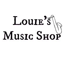 """Welcome To Night Vale """"Louie's Music Shop"""" Black Writing, White Background Photographic Print"""