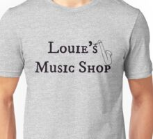 """Welcome To Night Vale """"Louie's Music Shop"""" Black Writing, White Background Unisex T-Shirt"""