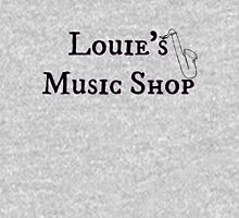 "Welcome To Night Vale ""Louie's Music Shop"" Black Writing, White Background Unisex T-Shirt"